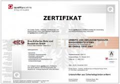 Zertifikat Arbeits und Gesundheitsschutzmanagementsystem